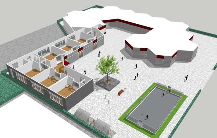 Uitbreiding Basisschool Lansingerland, totaalbeeld voor de nieuwbouw van zes leslokalen