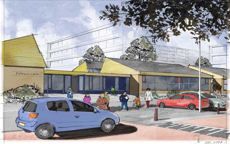 Renovatie Basisschool en gymzaal Rijswijk, artistimpressie van de nieuwe zijentree