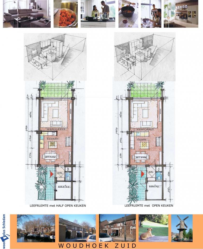 Schets van vergroting woningen voor Woonplus Schiedam Woudhoek zuid